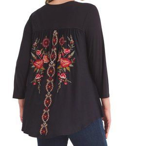 2X Caite Embroidered Back Detail Salina Top TUNIC